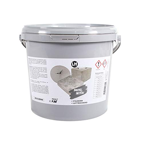 LM-Kreativ LM Bastel-Beton Premium Qualität (5 kg) Beton zum Basteln, Bastel-Beton, Beton für Kreative, Kreativ-Beton, Hobby-Beton, Viva Decor