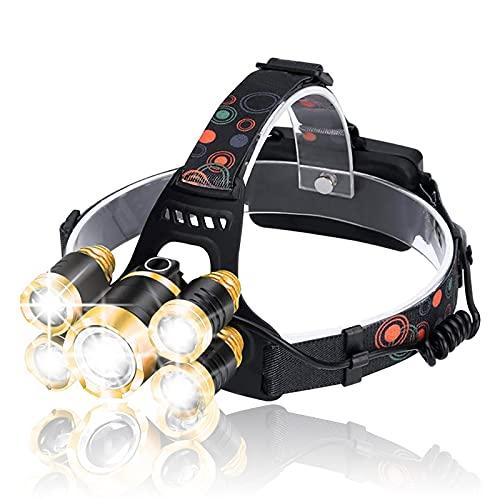 Lampada frontale ricaricabile, faro da 18000 lumen, impermeabile IPX4, torcia regolabile a 90 °, luce frontale perfetta a 5 LED per campeggio, escursionismo, pesca, riparazione auto, caccia