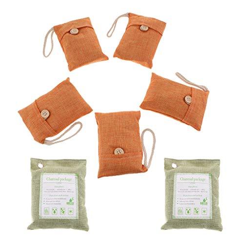 PETSOLA 200g * 2 + 100g * 5 Bolsas Purificadoras de Aire Natural Bolsa de Carbón de Bambú Estilo Fresco Coche