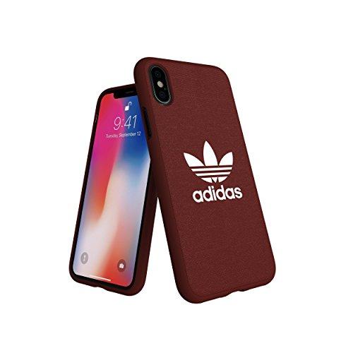adidas Originals kompatibel mit Apple iPhone XS Hülle Canvas TPU Handyhülle mit Leinen Optik, Snap Hülle auch kompatibel mit Apple iPhone X - Dunkel Braun