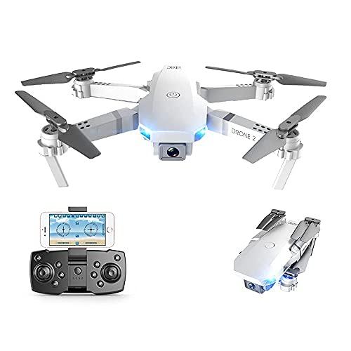 Drone per riprese aeree con luci notturne a LED, droni Portatili Pieghevoli telecomandati per Adulti, videocamera grandangolare 4K HD