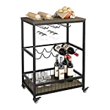 HOMECHO Bar Serving Cart Table Kitchen Wine Storage Cart with Wine Rack/Glass Holder, Serving Trolley with Lockable Wheels for Home, Black, 60 x 40 x 82 cm