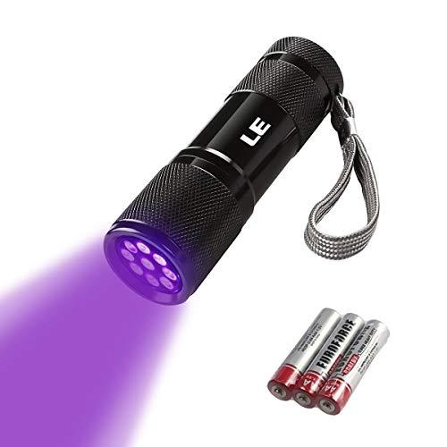LE LED Mini UV Blacklight zaklamp met 9 LED's, ultraviolet licht met 395nm voor geocaching, huisdieren urindetectoren, urinedetector enz. Inclusief 3 AAA-batterijen.