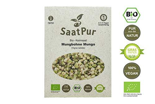 SaatPur Bio Keimsprossen - Mungbohnen Mungo Sprossen Keimsaat, Microgreen - 75g