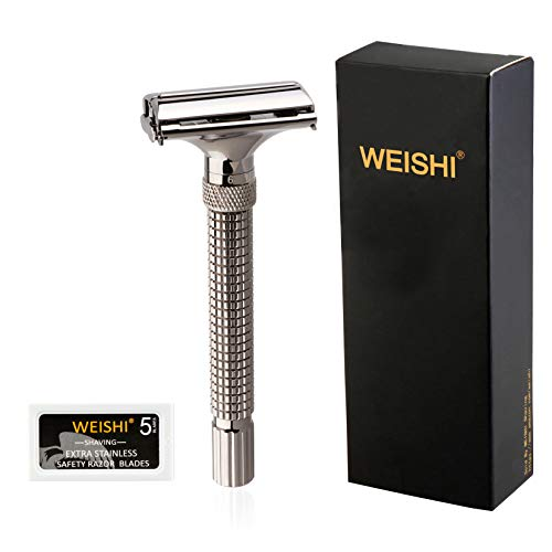 WEISHI Adjustable Butterfly Open Double Edge Safety Razor Gray Chrome