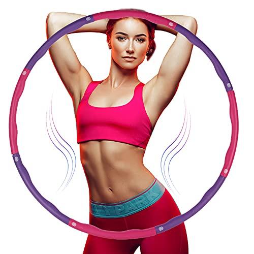 Tumax Hula Hoop Fitness Smontabile con Schiuma, Hula Hoop Fitness Professionale per Esercitare e Perdere Peso, Adatto per Fitness, Ginnastica, Sport Indoor e Outdoor, 8 Sezioni (Rosa & Viola)