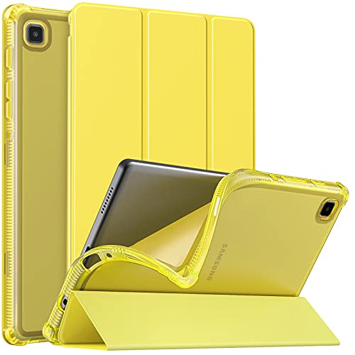 MoKo Funda Compatible con Samsung Galaxy Tab A7 Lite 8.7-Inch 2021 Tableta(SM-T227/SM-T225/SM-T220),Cubierta Protectora Plegable Delgada TPU Trasera Transparente con Soporte Triple, Amarillo brillante