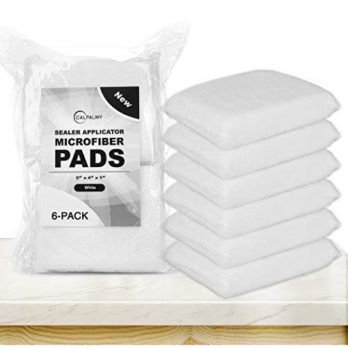 (6 Pack) White Professional Microfiber Tile Sealer Applicator Pad - The Perfect Sealer Applicator Tool for Tile Sealers, Natural Stone Sealers, Marble Sealers, and Granite Sealers