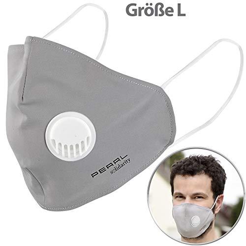 PEARL Mundschutz Masken: Mund-Nasen-Stoffmaske, Ventil, Nanofilter (98,9%), waschbar, Größe L (Staubschutz-Masken)