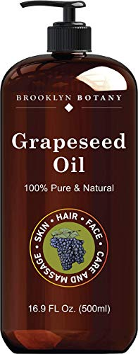 Brooklyn Botany Grapeseed Oil for Skin – 100% Pure and Cold Pressed – Carrier Oil for Essential Oils, Aromatherapy and Massage – Moisturizing Skin, Hair and Face – Therapeutic Grade – 16 fl Oz