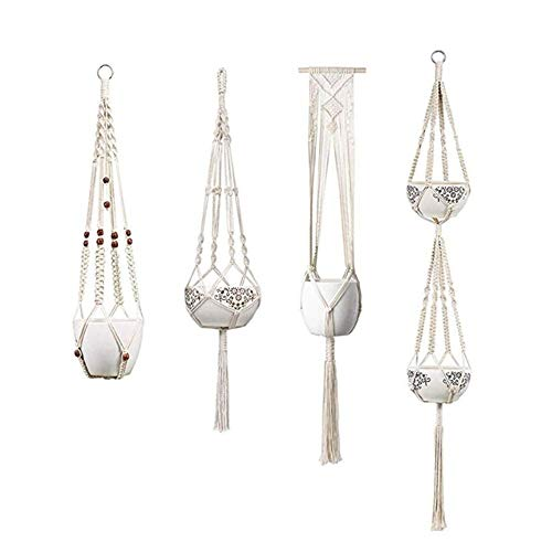 Hanging Flower Pot, Indoor and Outdoor Wall Weaving Hanging Home Decoration 4 Pieces Flower Pot Holder