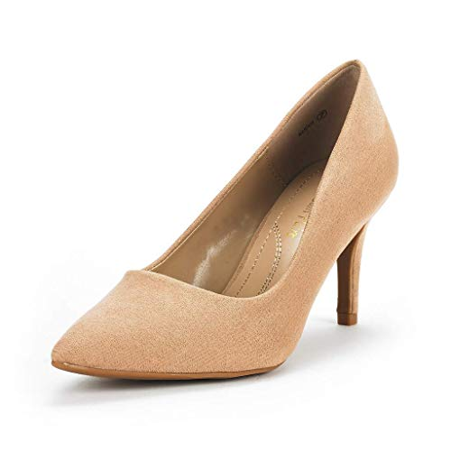 DREAM PAIRS Women's KUCCI Nude Suede Classic Fashion Pointed Toe High Heel Dress Pumps Shoes Size 8.5 M US