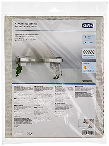 Xavax Universal Dunstabzug-Flachfilter mit Sättigungsanzeige, 2er Set, Individueller Zuschnitt, 47 x 57 cm