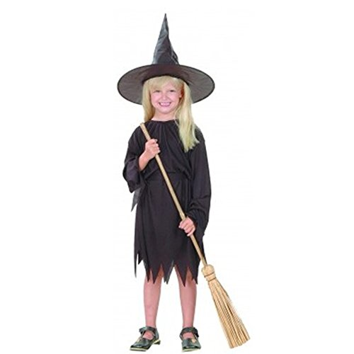 Fancy Steps Witch Halloween Costumes Girl Fly Gown And Witch Cap (Age 2-4 Years) Black