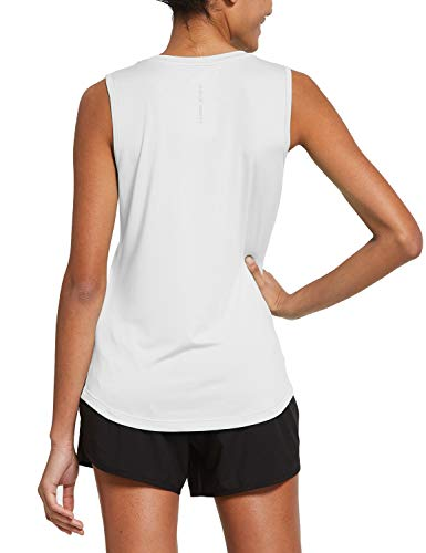 BALEAF Women's Sleeveless Workout Shirts Exercise Running Tank Tops Active Gym Tops White Size L