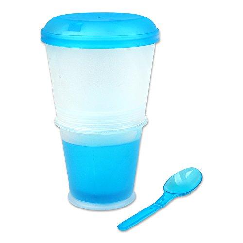 Schramm® Joghurtbecher 7 Farben to go Müsli-to-Go Müslibecher mit integriertem Kühlfach und Löffel Müslischale Joghurt Becher Müslibehälter Joghurtbehälter für unterwegs, Farbe:blau