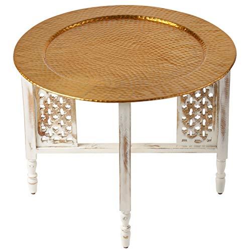 Mesa de centro redonda marroquí Hania Ø 60 cm redonda | Mesa de salón oriental con estructura plegable vintage de madera en blanco | La bandeja es de aluminio en color dorado