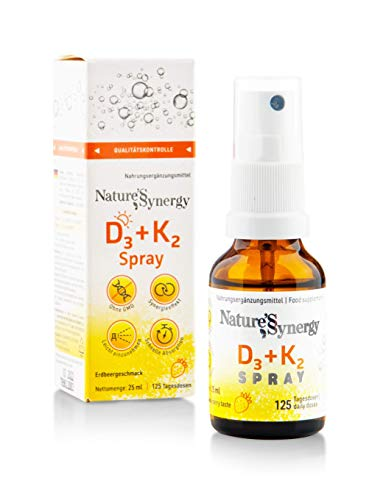 D3 + K2 Spray 125 Daily doses (25 ml) Synergy Effect of D3 and K2. Also Suitable for Children from 3 Years, no preservatives, Vitamin d high Strength, Natural Strawberry Aroma.