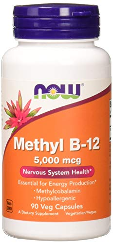 NOW Supplements, Methyl B-12 5000mcg,Methylcobalamin, Hypoallergenic, 90 Veg Capsules
