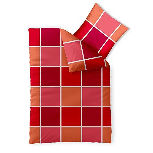 CelinaTex Harmony Bettwäsche 155 x 220 cm Mikrofaser Bettbezug Coco Kariert Rot Orange Weiß
