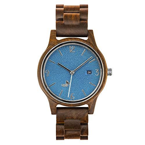 Opis UR-U1: Zwart Sandelhout Houten Pols Horloge voor Mannen/Vrouwen, Dames/Heren, Uniseks met Wijzerplaat met Reliëf in het Turquoise, Blauw of Groen en Goud of Zilveren Metaal Onderdelen