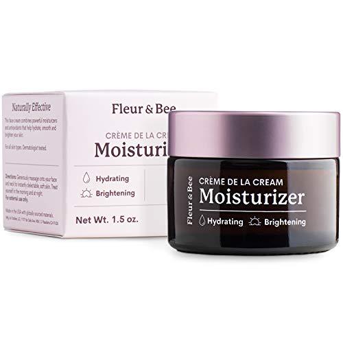 Brightening Moisturizer | Natural, 100% Vegan | Anti Aging, Wrinkle Cream with Vitamin C | Wrinkles, Hyperpigmentation & Dark Spot Corrector for Face | Crème de la Cream by Fleur & Bee - 1.5 oz