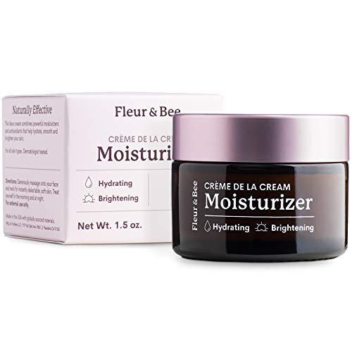 Anti Aging Moisturizer | Natural, 100% Vegan | Daily Face Cream with Organic Ingredients | Hydrating, Wrinkles, Brightening Vitamin C | Unscented | Crème de la Cream by Fleur & Bee - 1.5 oz