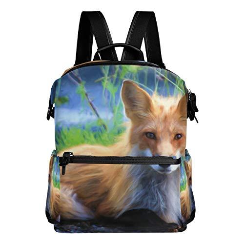MALPLENA Animal Fox Art Painting Borsa scuola zaino zaino escursionismo