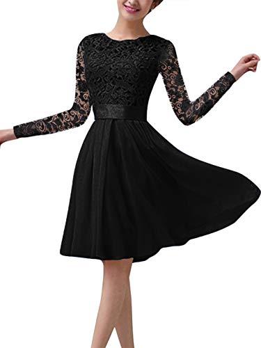ZANZEA Vestido de Fiesta Encaje Manga Larga Mujer Tallas Grandes Elegant Vestido de Cóctel de Noche Cortos Manga Larga Encaje Negro L