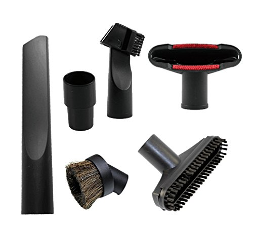 GIBTOOL Vacuum Attachments Accessories Cleaning Kit Brush Nozzle Crevice Tool for 1 1/4 inch & 1 3/8 inch Standard Hose 6pcs