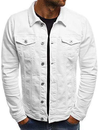 Halfword Mens Denim Jacket Slim Fit Jacket Casual Cotton Solid Color