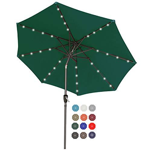 ABCCANOPY 230 cm, parasol ogrodowy, z 32 diodami solarnymi LED, do ogrodu, na sufit, basen, piaskową plażę, ciemnozielony