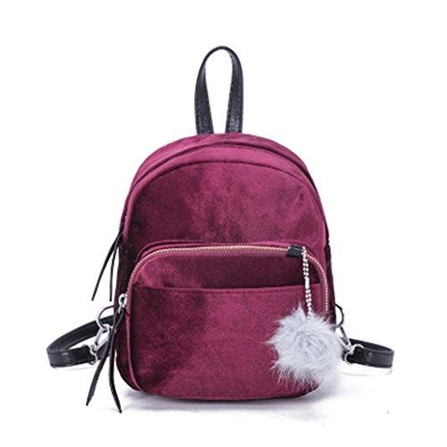 VJGOAL Damen Rucksack, Frauen Mädchen Mode Mini Plüsch Ball Samt Schulter Solide Schule Reise Schultaschen Frau geschenk (19 * 8 * 21cm, Wein)