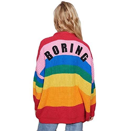 fpengfashion Damen Strickjacke Regenbogen Farbe gestreift Boring Gedruckt Pullover Pulli Jacke Oversize Lange Ärmel Gestrickter