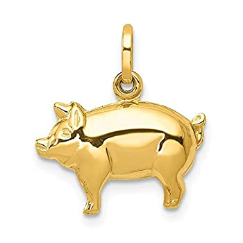 14k Yellow Gold Pig Pendant Charm Necklace Animal Fine Jewelry For Women Gifts For Her