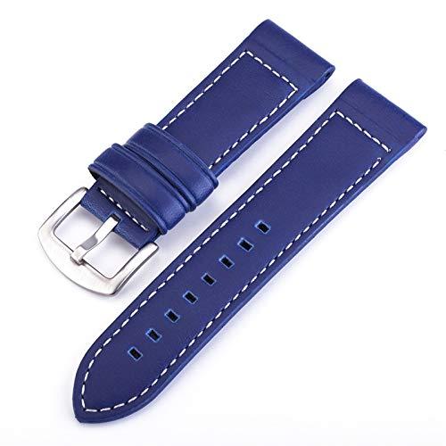 MMBBOD Correas de Reloj de Cuero Universal Watch Straps Liberación Rápida Reemplazode Correa, Correa Piel, 18mm 20mm 22mm 24mm, Adecuado para Hombres y Mujeres (Color : Blue, Size : 22mm)