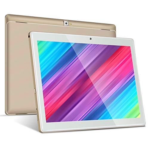 4G LTE Tablet 10 Zoll Android 9.0, Padgene P23L Google Tablet PC mit Quad Core CPU 3G + 64G Speicher Dual Simkarten Slot Dual Kamera 2.0/8.0 MP WiFi/3G BT GPS Telefonfunktion(Gold)