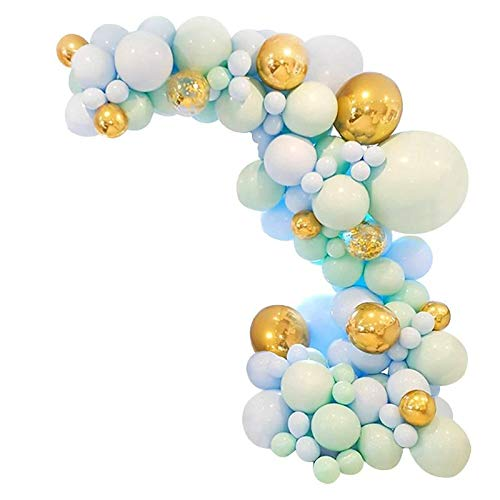 CoCaLay Balloons Arch Kit,Balloons Garland Kit,Blue Green Gold Balloons set for Baby Shower,Birthday Party,Wedding etc
