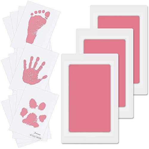 3pcs Baby Fussabdruck Set, Baby Handabdruck und Fußabdruck Set, Pfotenabdruck Set Hund, Pfotenabdruck Set Katze, Baby Abdruckset für Neugeborene, Baby Handprint, Die Haut berührt die Tinte nicht, Rosa