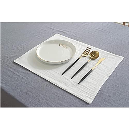WJYULGY Mantel individual de lino de algodón, paño de servilleta de color sólido, posavasos de aislamiento térmico antideslizante, decoración de mesa de estilo japonés