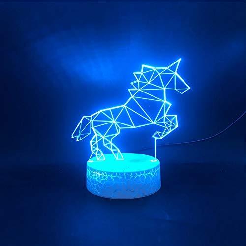 Base de crack de caballo blanco simple brillante luz de visión 3D luz led multicolor decoración de base táctil luz de noche lámpara de mesa pequeña