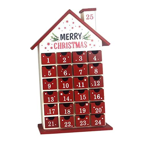 B Baosity Calendario de Adviento de Madera - 24 Cajones Que Se Abren Calendario de Adviento de Navidad Decoración