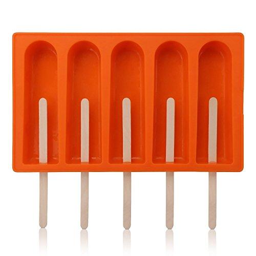 Silikon Popsicle Form für EIS Bar Ice Pop handgemachte Seife gefrorener Joghurt, DIY EIS Sucker Eismaschine Tray Tools Plus 50 Holzstäbchen (5-Streifen)