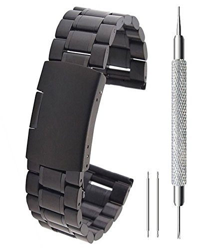 BlueBeach 22mm Edelstahl Ersatz Armband Band für Pebble Time/Moto 360 2nd Gen/Samsung Gear 2/LG G Watch/G Watch R/Urbane/Asus ZenWatch/Vivowatch (Schwarz)