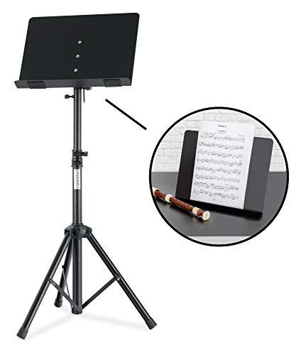 Classic Cantabile OST-350 2-in-1 muziekstandaard - kan worden gebruikt als muziekstandaard en als tafelpaneel of boekenstandaard - orkesterpaneel met gesloten muziekhouder van staal - leesstandaard van metaal - zwart