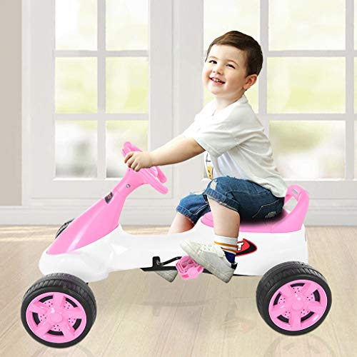 4-Wheels Kids Toy Car Pedal Go Kart Racer Funny Pedal Powered Vehicles Kids Ride-On Toys for 3-8 Years, Gifts for Boys & Girls