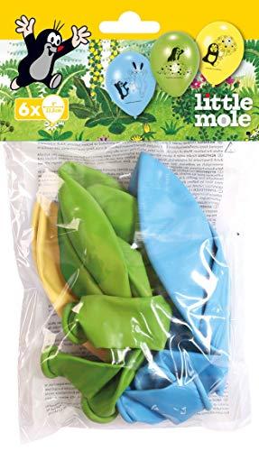 amscan 11012148 9902926 6 Latexballons Der kleine Maulwurf, Blau/Gelb/Grün