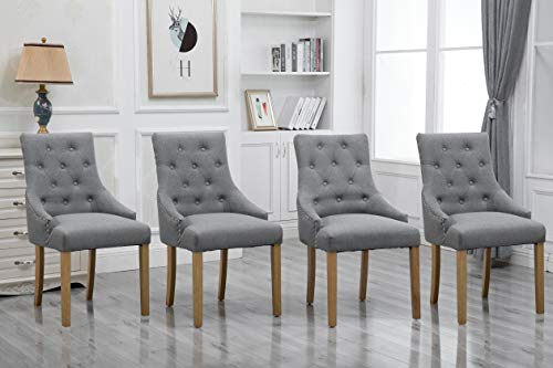 Gery Dining Chairs with Armrest Set of 4 Kitchen Armchairs with Linen Fabric Upholstered Seat Wood Legs Modern Occasional Living Room Side Chairs Studded with Button Nailhead (4, Grey)