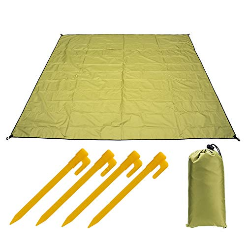 Waterproof Camping Mat 83 x 79 inch, Mutifunctional Tent Mat, Tow Rope Backpack with 4 Plastic Nails, Suitable for Camping, Hiking and Picnic