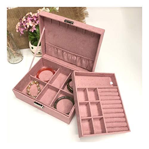 Homeilteds De Doble Capa de joyería joyería Caja de joyería del sostenedor Europea Gran Espacio de Almacenamiento de Caja Regalo Presents (Color : Pink)